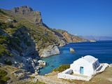 Beach and Church  Agia Anna  Amorgos  Cyclades  Aegean  Greek Islands  Greece  Europe