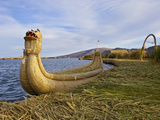 Traditional Reed Boat Uros Island  Flotantes  Lake Titicaca  Peru  South America