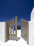 Open Gate and View at Oia  Santorini  Cyclades  Greek Islands  Greece  Europe