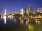 Night View of River Seine with High-Rise Buildings on Left Bank  and Eiffel Tower  Paris  France