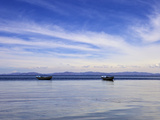 Two Boats on the Lake  Kollabaya  Challapampa  Isla del Sol  Lake Titicaca  Bolivia  South America