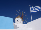 Church  Windmill and Greek Flag  Santorini  Cyclades  Greek Islands  Greece  Europe