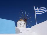 Church  Windmill and Greek Flag  Santorini  Cyclades  Greek Islands  Greece  Europe