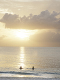 Two Swimmers in Ocean at Sunset  Grace Bay  Providenciales  Turks and Caicos  West Indies