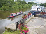 Boats on the River Severn  Upton Upon Severn  Worcestershire  England  United Kingdom  Europe