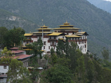 View of the Dzong in Trashigang with Hills in the Background  Eastern Bhutan  Bhutan  Asia