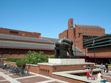 Courtyard of British Library Showing Isaac Newton Sculpture by Eduardo Paolozzi  London  England