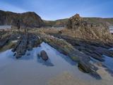 Rocky Pool on Sandymouth Bay Beach  Cornwall  England  United Kingdom  Europe