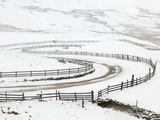 Snow on Winding Road in Edale  Peak District National Park  Derbyshire  England  UK  Europe