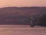 Gothic Style Water Straining Tower at Dusk on Lake Vyrnwy  Powys  Wales  United Kingdom  Europe