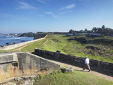 Man Walking on Fort Ramparts  Galle  UNESCO World Heritage Site  Southern Province  Sri Lanka  Asia