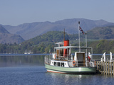 Tourist Lake Steamer Awaits Passengers at Pooley Bridge Pier  Lake District Nat'l Park  England