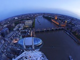 Passenger Pod Capsule  Houses of Parliament  Big Ben  River Thames from London Eye  London  England