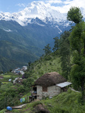 View of Southern Annapurna with Landruk Villge in Foreground  Pokhara  Annapurna Area  Nepal  Asia