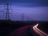 M40 Motorway Light Trails and Power Cables at Dusk  Oxfordshire  England  United Kingdom  Europe