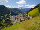 View of Village and Church  La Plie Pieve  Belluno Province  Dolomites  Italy  Europe