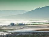 Storm Force Levante Winds Blowing Tops of Waves  Estrecho Natural Park  Los Lanses Beach  Spain