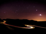 Light Trails and Stars Cape with Venus  Jupiter  Orion and Moon  Peak District Nat'l Park  England