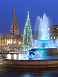 Trafalgar Square at Christmas  London  England  United Kingdom  Europe