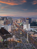 Elevated View of the Hotels and Casinos Along the Strip at Dusk  Las Vegas  Nevada  USA