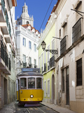 Tram (Electricos) Along Rua Das Escolas Gerais with Tower of Sao Vicente de Fora  Lisbon  Portugal