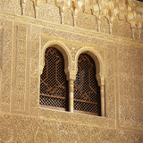 Moorish Window and Arabic Inscriptions  Alhambra Palace  UNESCO World Heritage Site  Spain
