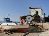 Fishing Boat Stella on Ramp Near Small Chapel at Skala Sikaminia  Lesbos (Lesvos)  Greece