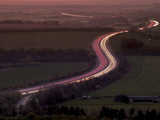 Telephoto Aerial View of Light Trails at Dusk on M40 Motorway in Chilterns  Oxfordshire  England