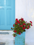 Red Geraniums  Chora  Amorgos  Cyclades  Aegean  Greek Islands  Greece  Europe