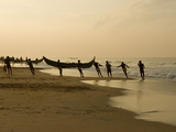 Fishermen Hauling in Nets at Sunrise  Chowara Beach  Near Kovalam  Kerala  India  Asia