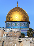 Dome of Rock Above Western Wall Plaza  Old City  UNESCO World Heritage Site  Jerusalem  Israel