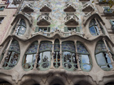 Facade of Casa Batllo by Gaudi  UNESCO World Heritage Site  Passeig de Gracia  Barcelona  Spain