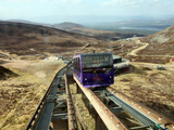 Uphill Car Is About to Pass Downhill Car on Cairngorm Funicular Railway  Cairngorms  Scotland  UK