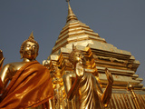 Statues and Chedi in Doi Suthep Temple  Chiang Mai  Thailand  Southeast Asia  Asia