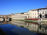 Uffizi Gallery Reflected in Arno River  Florence  UNESCO World Heritage Site  Tuscany  Italy