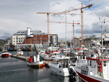 Local Fishing Boats and Cranes Working on New Library Site for North Norway  Bodo Harbour  Norway