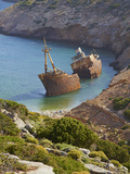 Wreck of the Boat from the Big Blue Movie  Amorgos  Cyclades  Aegean  Greek Islands  Greece  Europe