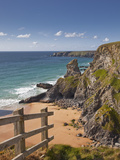Looking Down to the Bedruthan Steps on the North Cornwall Coastline  Cornwall  England  UK  Europe