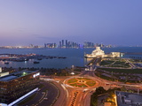 Elevated View over Museum of Islamic Art and Dhow Harbour to Modern Skyscraper Skyline  Doha  Qatar