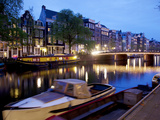 Canal Boat and Architecture  Amsterdam  Holland  Europe