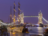 Tower Bridge and Tall Ships on River Thames  London  England  United Kingdom  Europe