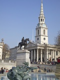 Trafalgar Square Fountains and St Martin in the Fields  London  England  United Kingdom  Europe