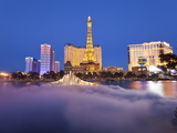 Bellagio Fountains Perform in Front of the Eiffel Tower Replica  Las Vegas  Nevada  USA
