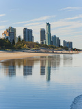 Reflections of High Rise Buildings at Surfers Paradise Beach  Gold Coast  Queensland  Australia