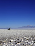 A 4x4 on Salar de Uyuni  the Largest Salt Flat in the World  South West Bolivia  Bolivia