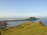 The Worm's Head with Causeway Exposed at Low Tide  Rhossili  the Gower Peninsula  Wales  UK  Europe