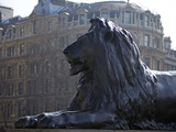 Bronze Lion Statue by Sir Edwin Landseer  Trafalgar Square  London  England  United Kingdom  Europe
