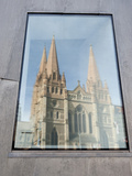 Reflection in Window of St Pauls Cathedral  Melbourne  Victoria  Australia  Pacific