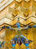 Guardian Statues Supporting a Golden Chedi  Grand Palace  Bangkok  Thailand  Southeast Asia  Asia