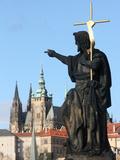 St John the Baptist Sculpture on Charles Bridge  UNESCO World Heritage Site  Prague  Czech Republic